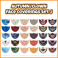 COLOURED Clown/Wild Reusable Face Mask Covering ADULTS MASKS Set J