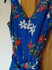 Primark Blue Midi Dress Floral Size 10 Tie Waist