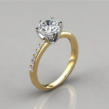 2.00Ct Forever One Round Cut Moissanite Engagement &Wedding Ring 14K Yellow Gold