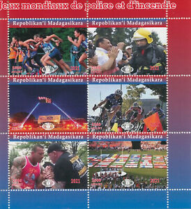 Madagascar 2021 MNH Sports Stamps World Police & Fire Games Cycling 6v M/S