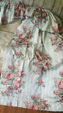 """Vintage country cottage Curtains &pelmet pink cabbage roses&bows  W46""""x72""""L"""
