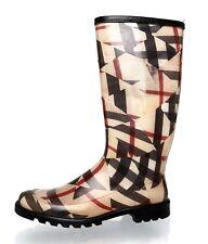 Burberry Pull On Rubber Rain Boot Beige Women Sz 41 4072 *