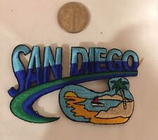 "VINTAGE IRON ON EMBROIDED SAN DIEGO   PATCH. 3""X 2"" Awesome!"