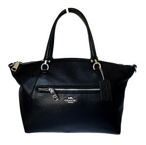 Coach Black Leather SLV/Gold Prairie Satchel Handbag Purse Crossbody Bag 79997