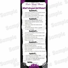 24 Bridal Shower Game Cards - Hallie Design - What's In Your Cell Phone Game