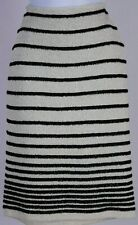 ST.JOHN Couture Womens Cream Black Metallic Gold Shimmer Knit Skirt Sz 4