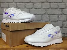 REEBOK LADIES UK 8 CLASSIC WHITE LEATHER IRIDESCENT X-RAY TRAINERS