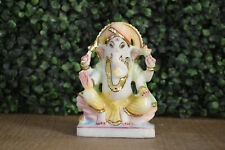 5.5 Inches Handcrafted Painted Marble Hindu Lord Ganesha Idol Home Temple Statue