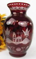 """Vintage Bohemia Czech Ruby Red * Cut To Clear * Etched Glass Vase 7.5"""" Tall"""