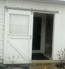 SLIDING BARN DOOR HARDWARE 6' ROUND TRACK W/ ATTACHED BRACKETS TROLLEYS 600# USA