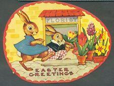 1984 Merrimack 3D Moving EASTER EGG DRESSED Rabbits Egg Flowers Greeting Card