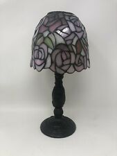 PartyLite Rosewater Candle Lamp Tiffany Style Hand Cut Stained Glass P8394 13�