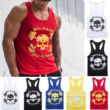 UK New Skull Men's Gym Muscle T Shirt Tank Tops Bodybuilding Sport Fitness Vest