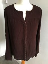 Women's Brown Blouse Long Sleeved Shirt Medium Top Gold Chain Detail 50% Off