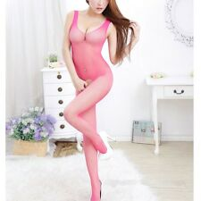 Hot Pink Bodystocking Fishnet Suits Playsuit Dress Cosplay Toys Catsuit Lattice