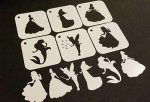 DISNEY Style PRINCESS Set of 6pcs Reusable Stencils Party Decoration Paint Cards