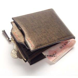 Men's Faux Leather Bifold Wallet Coin Purse Credit Card Holder Short Money Clip