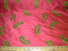 "~BTY~100% SILK~""PAISLEY""~AWSOME EMBROIDERED DRAPERY UPHOLSTERY FABRIC FOR LESS~"
