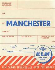 KLM ROYAL DUTCH AIRLINES TO MANCHESTER ENGLAND OLD CARGO AVIATION LUGGAGE LABEL