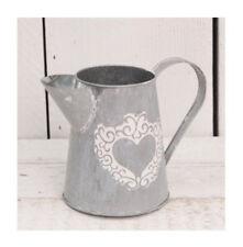 Rustic Zinc Metal Heart Jug Decorative Flower Pitcher Vase Vintage Planter 14cm