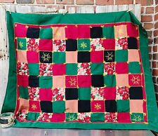 VTG Handmade Christmas Poinsettias Fabric Quilt 48x60 Embroidered Snowflakes