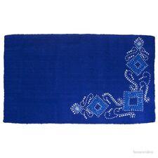 "Western Saddle Blanket -  Royal Blue Wool - Silver Studs & Crystals - 34""x38"""