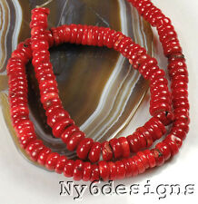"""8x4mm Red Natural Sea Coral Heishe Beads 15"""" (CO164)b for DIY Jewelry"""