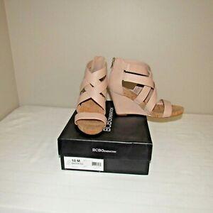 BCB Generation Barekiss Back Zip Wedge Heel Dress Sandal Shoe Beige 10M NWB