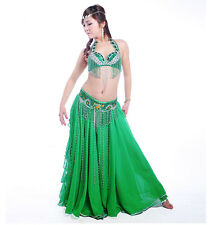 NEW Belly Dance Costume Outfit Set Bra Belt Skirt Carnival Bollywood 12Colors