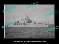OLD 8x6 HISTORIC PHOTO OF AUSTRALIAN NAVY SHIP HMAS SHROPSHIRE c1950