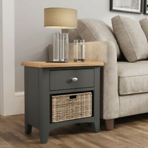 Farrow Grey Painted 1 Drawer 1 Basket Lamp Table / Modern Side Cabinet