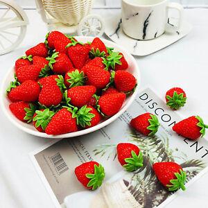 6x Künstliche Plastik Erdbeere Gefälschte Frucht Home Wobble Plate Decor