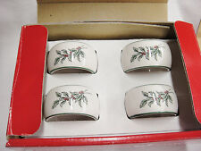 Nikko Christmastime Holly Napkin Rings Set 4 Porcelain Green Trim Original Box