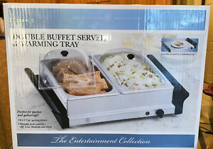 Double Buffet Server & Warming Tray Bella Cucina Stainless 1.5 QT Serving Dishes