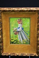 """Original Connie King Oil Painting """"Young Girl Picking Daisies"""""""