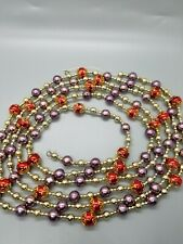 Vintage Christmas Beads Beautiful 9ft Long Purple Red Gold 013