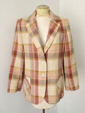 Vgc Vtg 70s Jack Winter Beige Rust Gold Plaid Wool Tweed Disco Blazer Jacket M/L