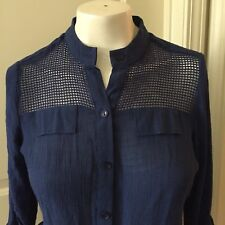 Zac & Rachel Sz S Navy Blue Tie Waist  Mesh Front Button Up Oxford Blouse