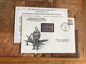 DANBURY USA 1993 FDC WWII JACQUELINE COCHRAN WASP DIRECTOR