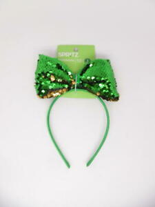 Spritz St Patrick's Day Emerald Green Sequin Bow Headband One Size
