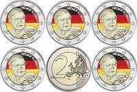 2 Euro Helmut Schmidt 2018 Deutschland Satz 5 Münzzeichen A D F G J in Farbe