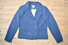 Women's Dark Blue Navy Short Double-Breasted Collared Blazer Jacket Size 10