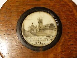 19thC Carved Lancaster Church Endowed 1094 I*L Priory Oak SNUFF BOX or PYX