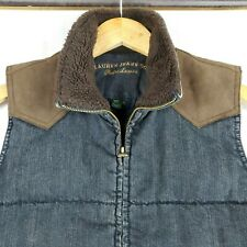 POLO RALPH LAUREN Size Small Womens Denim Suede Vest Fleece Lined Hunting Blue