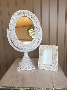 Vintage White Wicker Stand Mirror