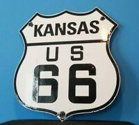 VINTAGE US ROUTE 66 PORCELAIN METAL GAS HIGHWAY USA KANSAS ROAD SHIELD SIGN
