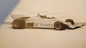 LOT OF 5 DRAWINGS John W Barnes Jr Formula 1 Racing black white 1970 drawing