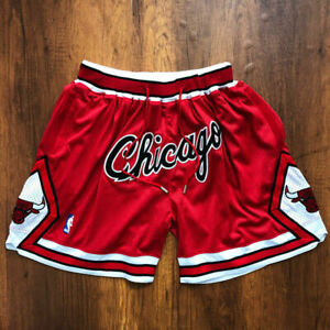 New Men's Chicago Bulls Vintage Basketball Shorts Pants NWT Stitched