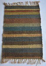 """Hand Woven Jute (Hemp) Door Mat Multi Color Striped 1'8""""x 2'7"""" Feet Mat"""