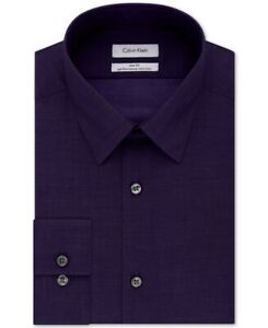 Calvin Klein Mens Dress Shirt Purple Size 14 1/2 Slim Fit Performance $75 #044